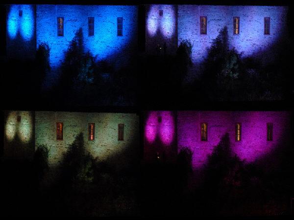 Collage aus vier farbigen Fotos der Kirche