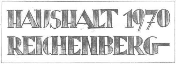 Schriftzug vom Titelblatt des Haushaltes 1970