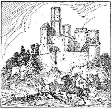 Stich Heimkehr der Jagdgesellschaft auf Burg Reichenberg