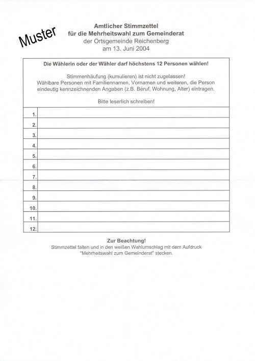 Bild vom amtliche Stimmzettel