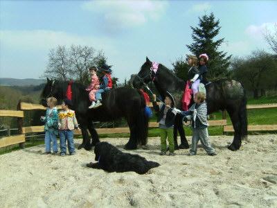Bild von den Pferden Gironimo und Gina zusammen mit Kindern